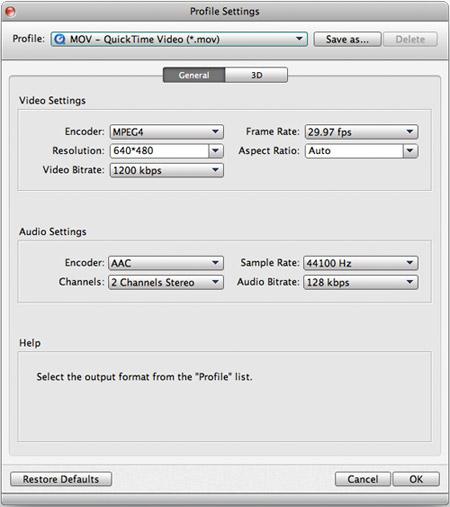Seleccionar el formato y ajustar los parámetros de su video