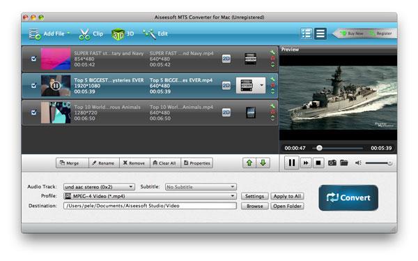 Adicionar los archivos MTS al programa