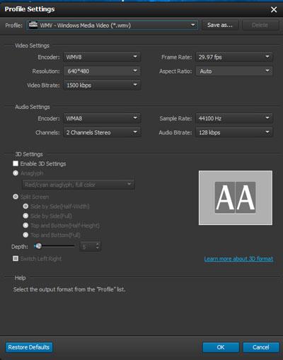 Seleccionar el formato de conversión de video