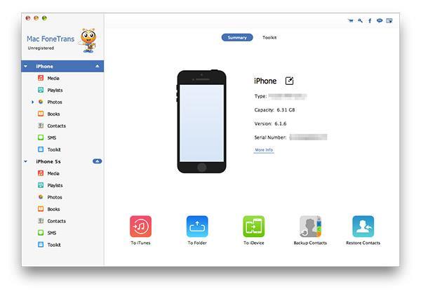 Abrir el FoneTrans y conectar su iPhone al Mac