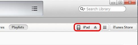 Hacer clic en su dispositivo cuando aparece en el iTunes