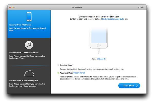 Abrir el FoneLab y conectar su iPad
