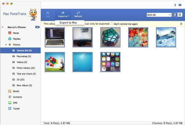 Seguir las instrucciones para enviar fotos del iPhone al Mac con el FoneTrans