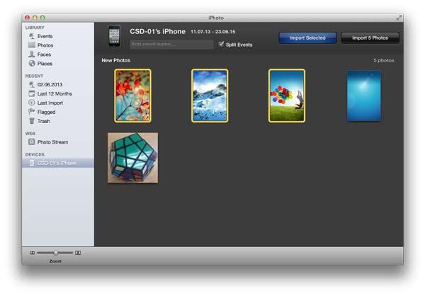 Seguir las instrucciones para enviar fotos del iPhone al Mac con el iPhoto