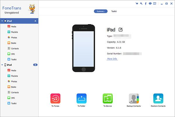 Abrir el FoneTrans y conectar sus iPads al PC