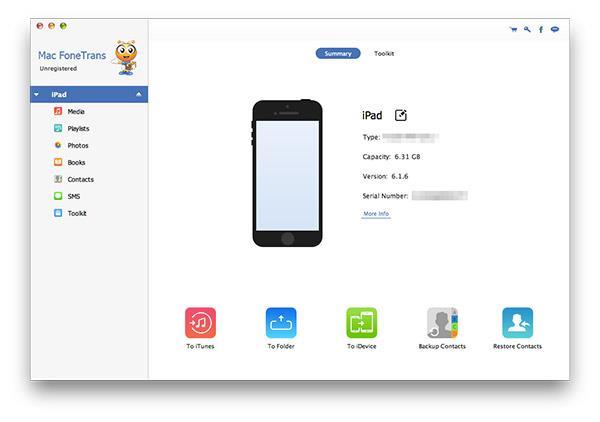 Abrir el FoneTrans y conectar su iPad al Mac