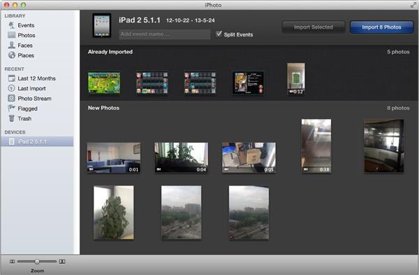 Abrir el iPhoto y transferir los videos que grabó