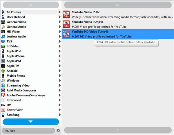 Seleccionar el formato MP4 para el YouTube