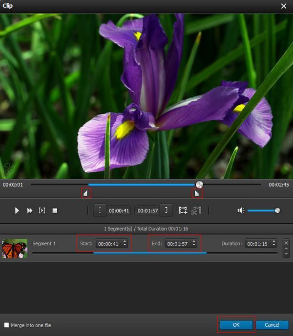 Cortar el tiempo de duración de su video
