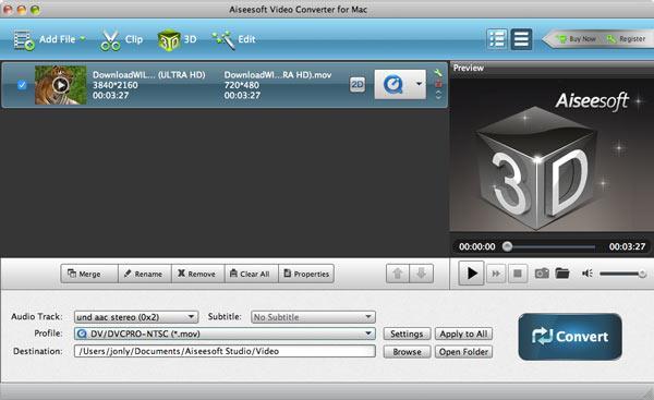 Seleccionar el formato de conversión MOV