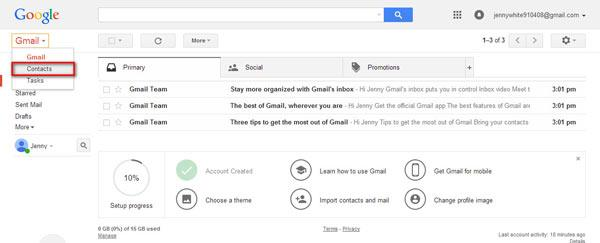 Cambiar el Gmail para Contactos
