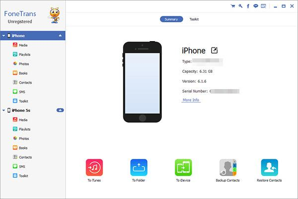 Abrir el FoneTrans y conecte ambos iPhones al PC