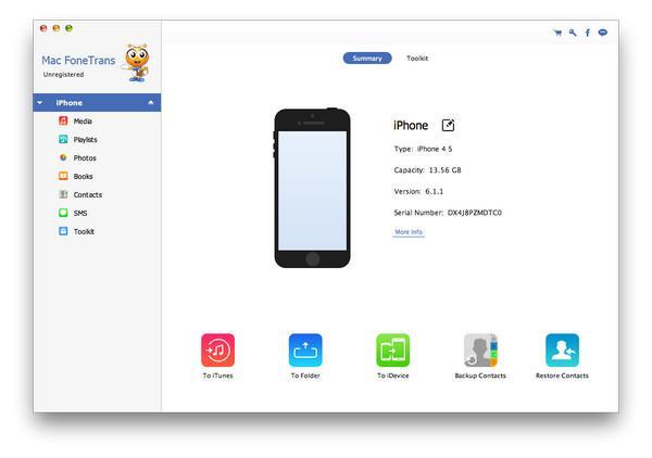 Abrir el FoneCopy y conectar su iPhone