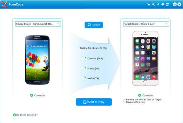 Android y iPhone conectados al PC