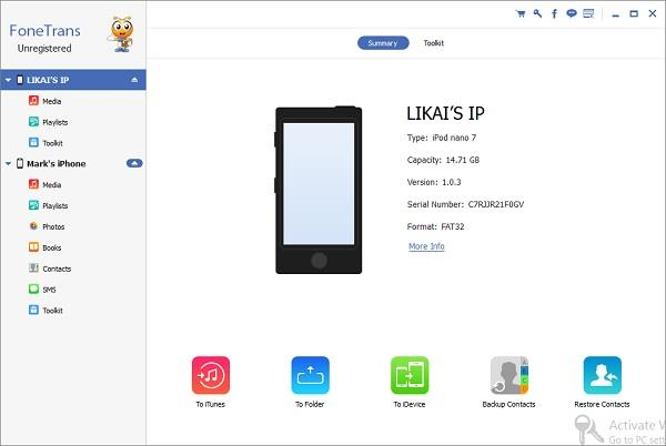 Abrir el FoneTrans y conecte sus dispositivos iOS