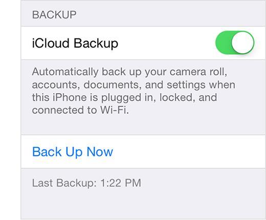 Habilite la copia de seguridad del iCloud
