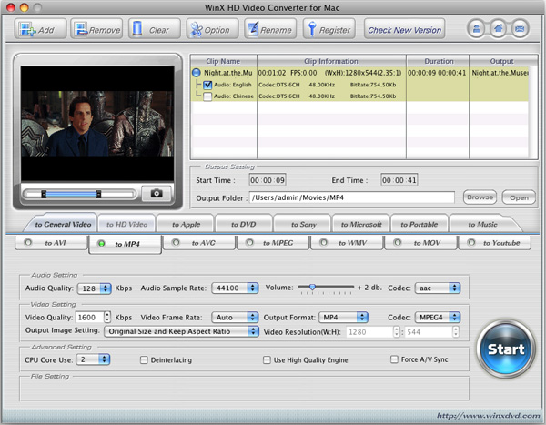 WinX HD Video Converter para Mac
