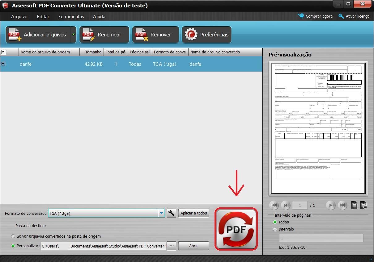 Hacer clic en el botón PDF