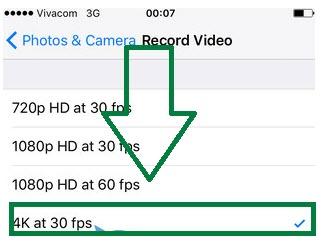 Seleccionar la resolución de grabación 4K