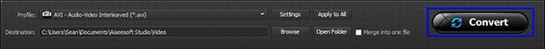 Iniciar la conversión de sus archivos de quicktime MOV a AVI