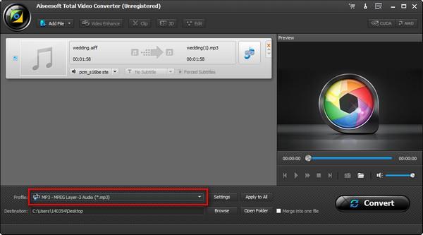 Seleccionar el formato de conversión MP3