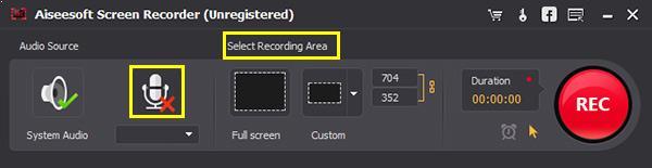 Ajustar las configuraciones del programa screen recorder para grabar música de Gaana