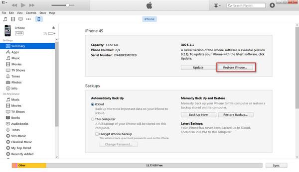 Use el iTunes para desbloquear su iPhone