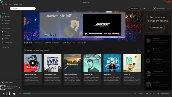 Interface del programa del Spotify