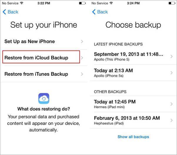 Restaurar su copia de seguridad del iCloud