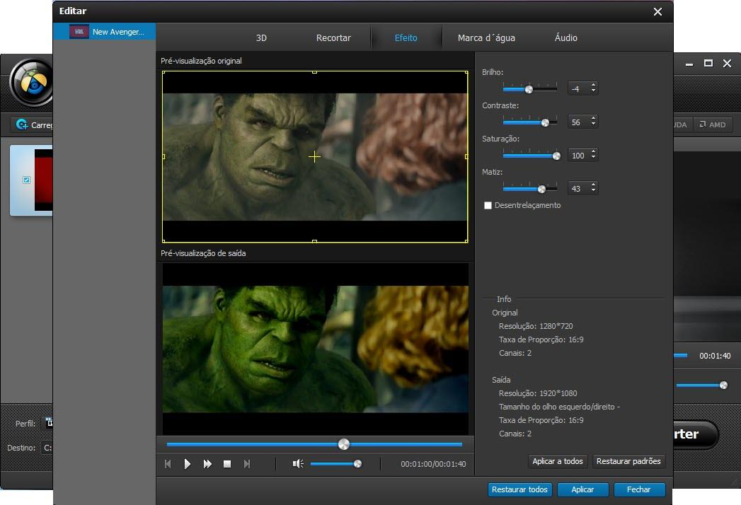 Ajustar los efectos de su video
