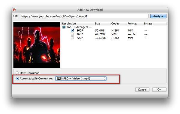 Iniciar la conversión del video descargado al formato seleccionado