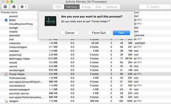 Cerrar el proceso del iTunes
