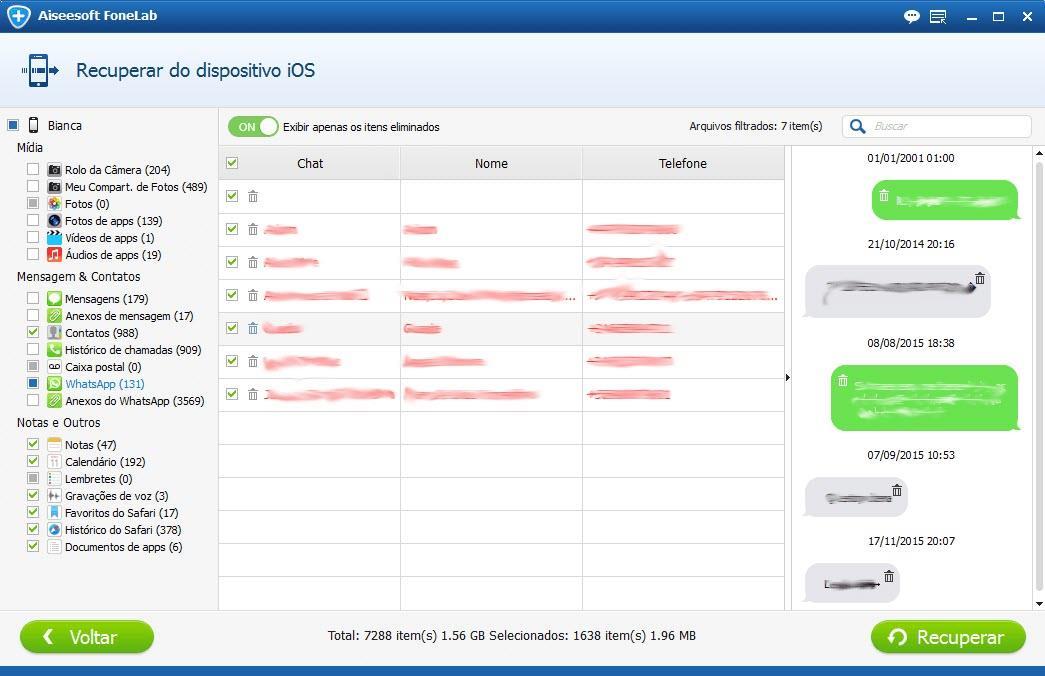 Seleccionar los mensajes de WhatsApp deseados