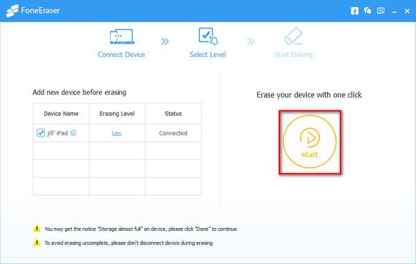 Activar borrado definitivo de archivos del iPad y esperar que termine el proceso
