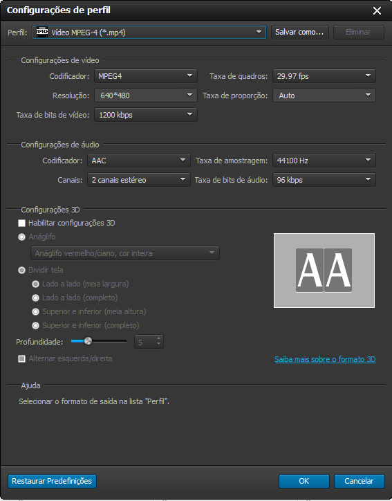 Selecione o formato de conversão de vídeo MP4 para WMV