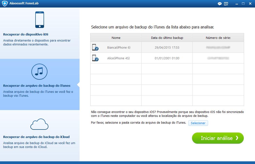 Selecione o arquivo de backup desejado para análise do dispositivo iOS