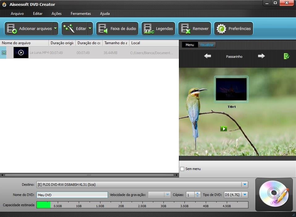 Importar sus archivos al programa DVD Creator