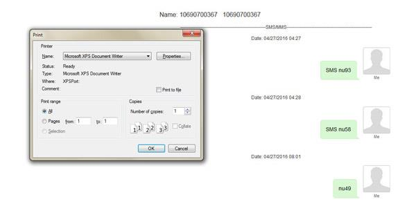Imprimir sus mensajes de texto recuperados