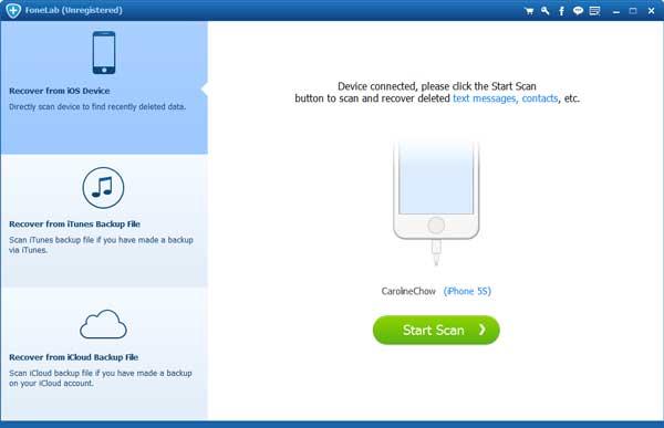Paso 2 Recuperar iPhone dañado FoneLab