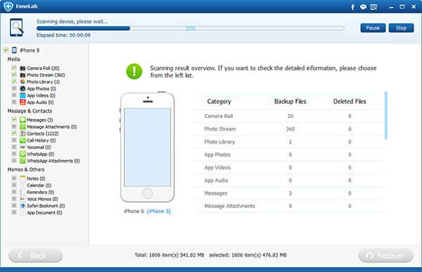Paso 3 Restaurar mensajes actualización FoneLab