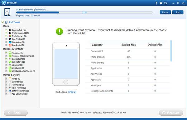 análisis del ipad para recuperar mensajes con FoneLab