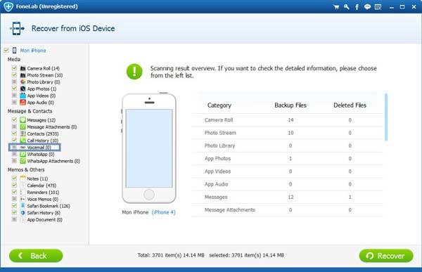 Paso 3 Restaurar voicemail iPhone FoneLab