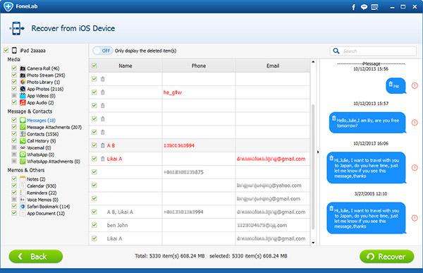 seleccionar del listado cuáles archivos del ipad desea recuperar con FoneLab