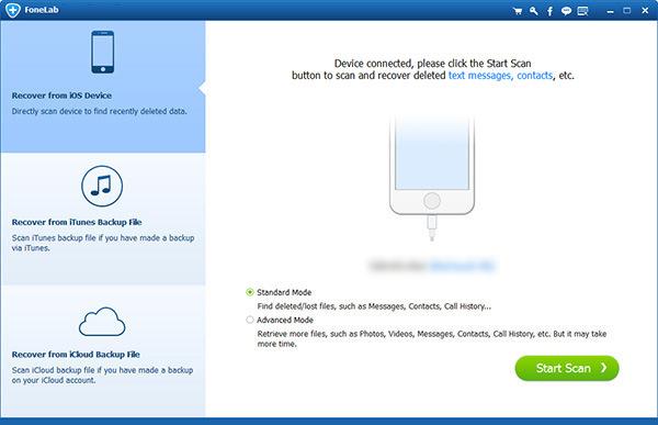 Passo1 Reaver dados iPhone FoneLab