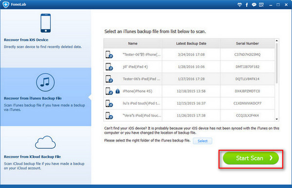 Passo2 Gerenciar backups iTunes FoneLab