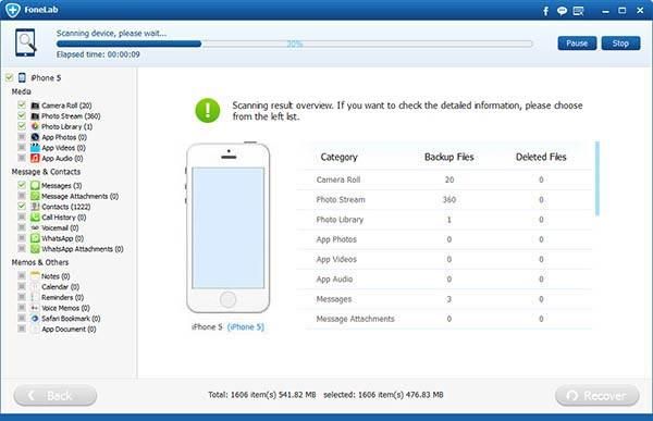 Passo3 Restaurar mensagens atualização FoneLab