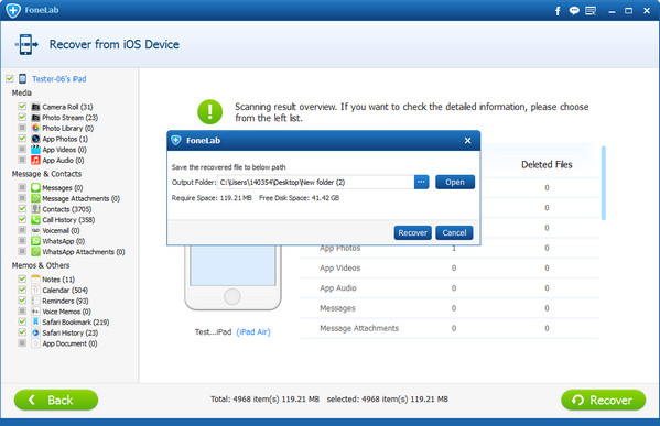 Recuperar dados eliminados iPad em um clique
