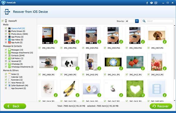 Seleccionar Mis Fotos del iCloud para recuperarlas