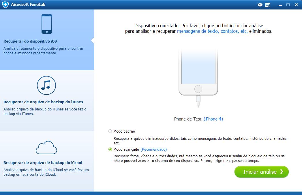 Selecione o modo de recuperação para iPhone ou iPad