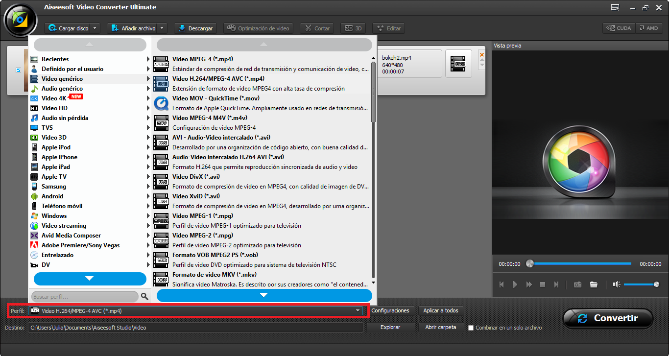 Seleccione un perfil de conversión, en este caso el MPEG